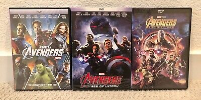 The Avengers, Age of Ultron, Infinity War Trilogy Set 3 DVD New Free Shipping