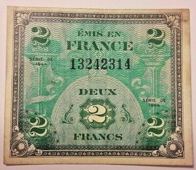 2 FRANCS France type 1944 WWII Banknote French