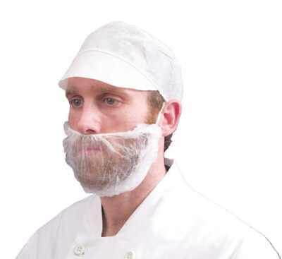100 Disposable Beard Mask Snood Cover Catering Food Safe Beard Mask WHITE