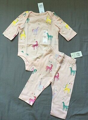 Baby Girl 0-3 Month Baby Gap Pink Unicorn Print Bodysuit & Leggings Set