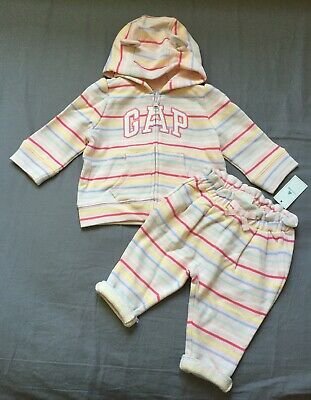 Baby Girl 6-12 Month Baby Gap Pink Striped Arch Logo Zip Up Hoodie & Pants Set