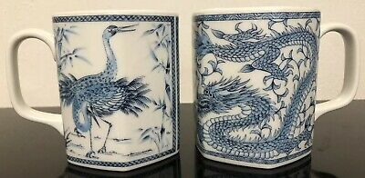 A Pair Of Chinese Antique Blue And White Dragon And Peacock Porcelain Cups