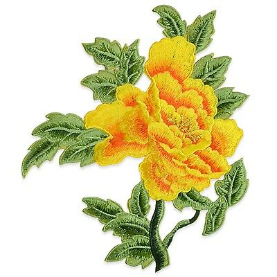 Expo Draya Iron On Embroidered Large Flower Pair Applique Patch