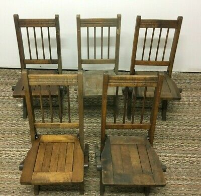 Antique Youth Child Wood Wooden Slat Folding Chairs 5 Set Church Sunday School