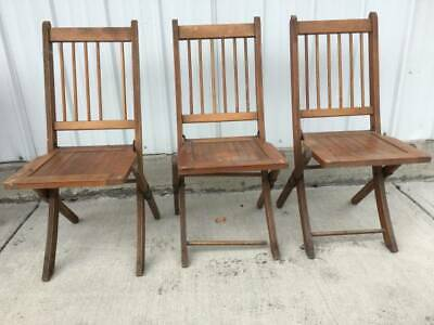 Antique Adult Wood Wooden Slat Folding Chairs 3 Set Church Sunday School Bistro