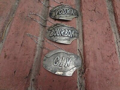 "3 Handmade Modernistic Sterling ""liquor Tags""...vodka,bourbon & Gin"