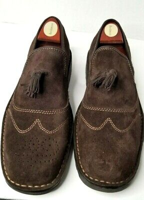 BORN Men's Oxford Suede/Leather Shoes Dark Chocolate Brown Size 11M with Tassel