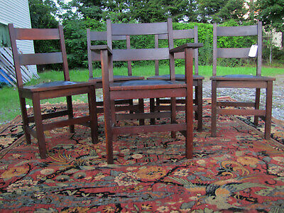 ANTIQUE  set of five GUS STICKLEY dining chairs w5655