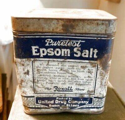 Vintage Puretest Epsom Salt Tin Rexall Store United Drug Co. Retro Chic