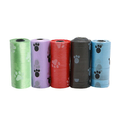 1/5/10Roll Pet Dog Waste Poop Bag Poo Printing Degradable Clean-up