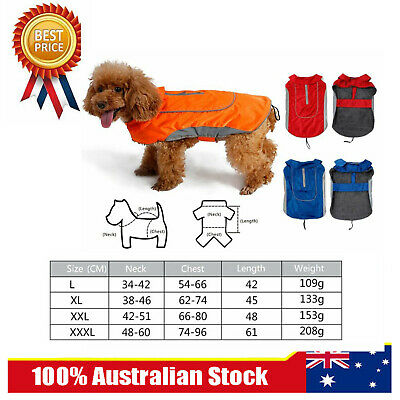 Dog Jacket Rain Coat Clothes Suit Harness Vest Pet Puppy Small Medium Large AU