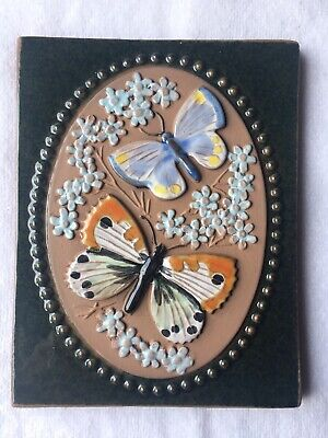 Mid-Century Jie Gantofta Sweden Art Pottery Wall Plaque Butterfly Tile 776