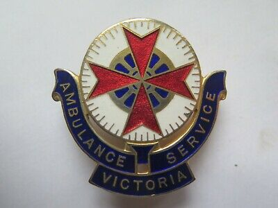 AMBULANCE SERVICE VICTORIA LARGE ENAMELLED HAT BADGE c1940s by STOKES MELBOURNE
