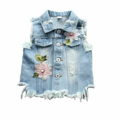 Baby Girls Jeans Vests Spring Autumn Sleeveless Jacket Embroidery Denim Clothing
