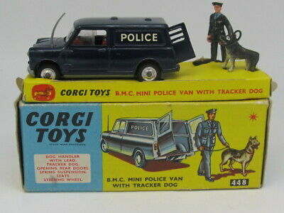 CORGI TOYS B.M.C AUSTIN MINI TRACKER POLICE VAN w Tracker Dog All Original 1964