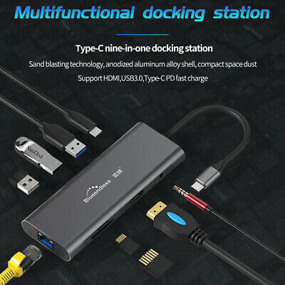 9 in 1 HDMI USB 3.0 Port Universal Docking Station support Type-C PD fast charge