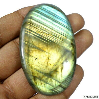 142+Cts Natural Flashy Labradorite Huge Oval Finest Quality Gem Size~61x37x07mm