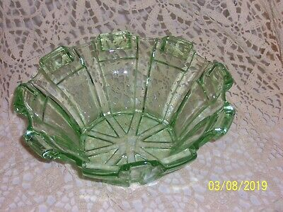 Vintage Retro Art Deco Geometric Green Depression Large Glass Bowl
