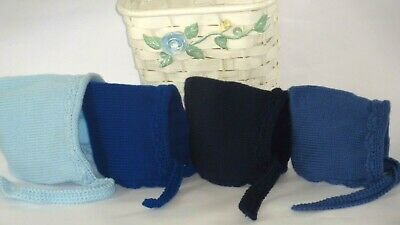 NEW LOVELY Classic Baby Infant Knitted Crochet Bonnet Pixie Beanie Blue Shades