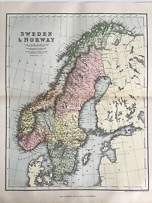 Old Antique Map 1892, Bartholomew, AK Johnston, Sweden and Norway