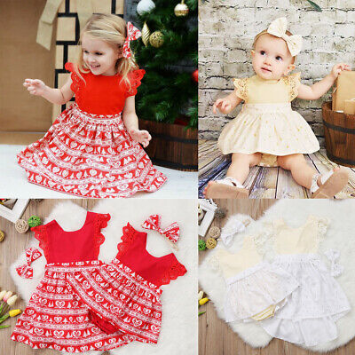 Christmas Baby Girls Toodler Kids Xmas Lace Romper Dress Party Dresses Costume