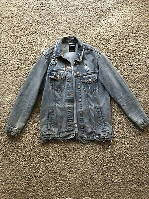 Women`s New BERSHKA Ripped Denim Jacket UK Size 8 to 14 in 3 Colours