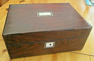 Antique Victorian Empty  Rosewood Box Ideal Sewing Work Box, Jewellery Box Etc .
