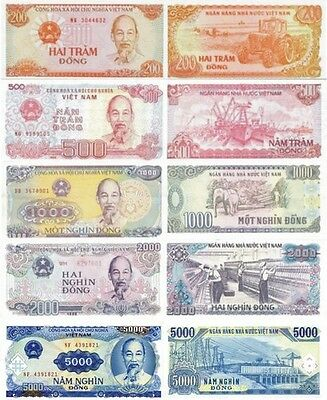 VIETNAM - Lot Lotto 5 banconote 200/500/1000/2000/5000 dong FDS - UNC