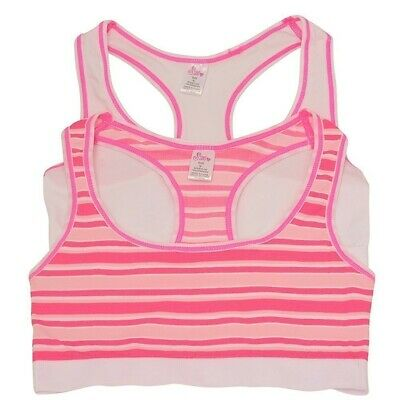 Sweet n Sassy Big Girls White Pink Stripe Racer Back Sports 2 Pc Bra Set 8-16