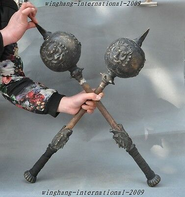 "25"" Old Chinese Dynasty Bronze kung fu Martial Dragon Head Hammer Warhammer Pair"