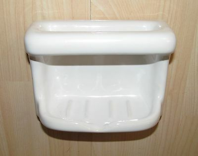 New Porcelain Soap Dish w Grab Bar Wall Mount Glossy White