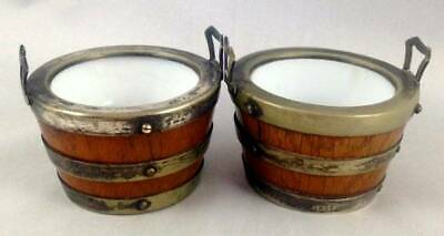 Two Antique Oak Wood Silver Plated Bucket Salt Pots Mustard Ceramic Lining