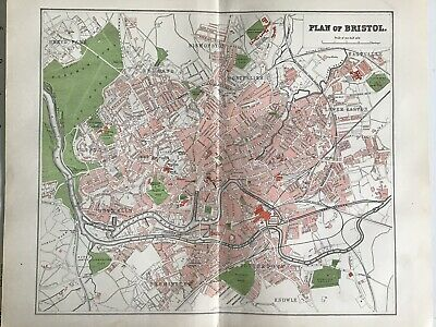 Old Antique City Map c1892, Street Plan Of BRISTOL, FS Weller