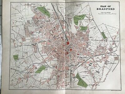 Old Antique City Map c1892, Street Plan Of BRADFORD, FS Weller