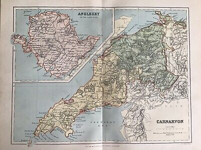 Old Antique Map c1892, CARNARVON, ANGLESEY, Wales, County Map, FS Weller