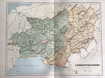 Old Antique Map c1892, CARMARTHENSHIRE, Wales, County Map, FS Weller