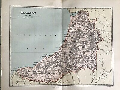 Old Antique Map c1892, CARDIGAN, Wales, County Map, FS Weller