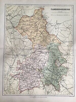 Old Antique Map c1892, CAMBRIDGESHIRE, England, County Map, FS Weller