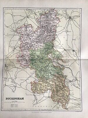 Old Antique Map c1892, BUCKINGHAM, ENGLAND, County Map, FS Weller