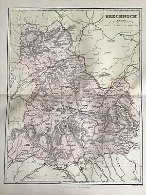 Old Antique Map c1892, Brecknockshire, Wales, County Map, FS Weller