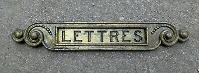 Lovely Antique Vintage French Solid Brass Letterbox Letter Flap: 'Lettres'