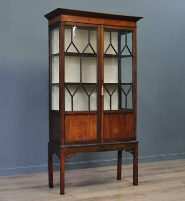 Attractive Large Antique Glazed Mahogany Display Cabinet, Newly Lined