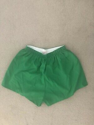 Carta Sport Vintage Retro Crisp Nylon Gym Soccer Football Shorts 38/40W Green