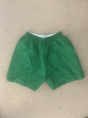 Gymphlex Vintage Retro Crisp Nylon Gym Soccer Football Shorts 38/40W Green