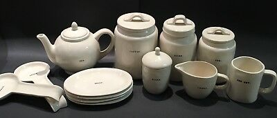 Rae Dunn Typewriter Teapot Canisters Cream Sugar 4 Oval Plates Spoons Jet Set
