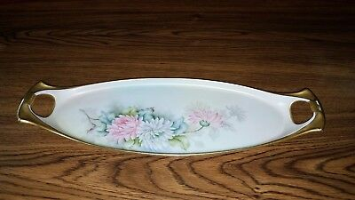 """Antique Hand Painted Limoges France 15"""" Celery Dish Tray Pink White Dahlias Gold"""