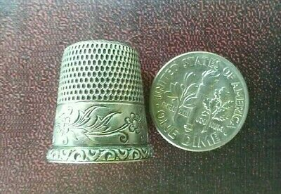 Simon Brothers Marked Sterling Silver Antique Thimble Size 8