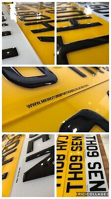 3d Gel Domed Gloss Black Resin Registration Plates Pair