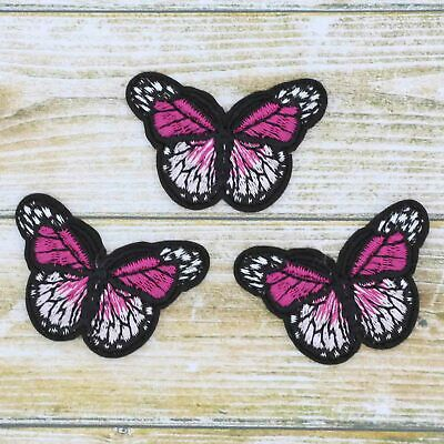 3/12Pcs Red Embroidered Monarch Butterfly Small iron on Patches bulk Appliques