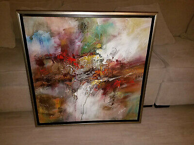 "H Gailey Abstract Oil Painting on Canvas - Float Framed - 36"" x 36"""
